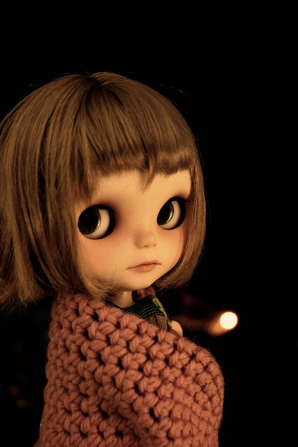 Vainilladolly BlytheDolls Eye, Dark Night, Blythe Dolls, Hoodie Outlets, Dolls House, Creepy Dolls, Brown Hair, Bewitched Blythe, Blythe Custom