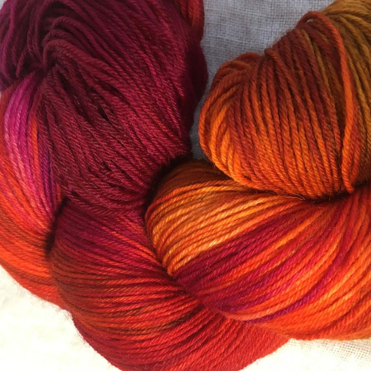 Pink, Orange and Yellow Hand Dyed 4ply Sock Wool/Nylon Yarn by hawthornecottage on Etsy