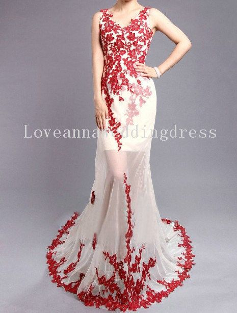 Sexy  Vneck  Aline  Red  Appliques  on Tulle by Loveweddinganna, $329.00