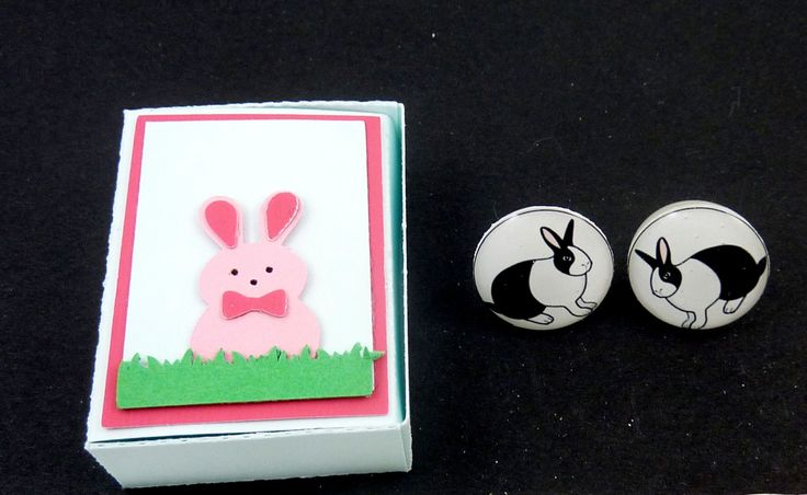 """Handmade Dutch Rabbit or Bunny Earrings and Handmade Rabbit Gift Box.   White Rabbit Post or Stud Easter Earrings. 5/8"""" or 16 mm. by buttonsbyrobin3 on Etsy"""