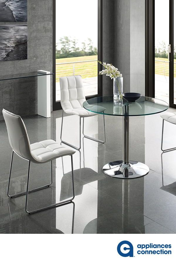 The Forte Collection Dining Table Features Round Shaped Clear
