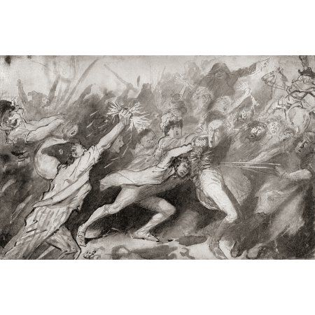 Storming of the Bastille Paris France 14 July 1789 Illustration by Harry Furniss for the Charles Dickens novel A Tale of Two Cities from The Testimonial Edition published 1910 Canvas Art - Ken Welsh
