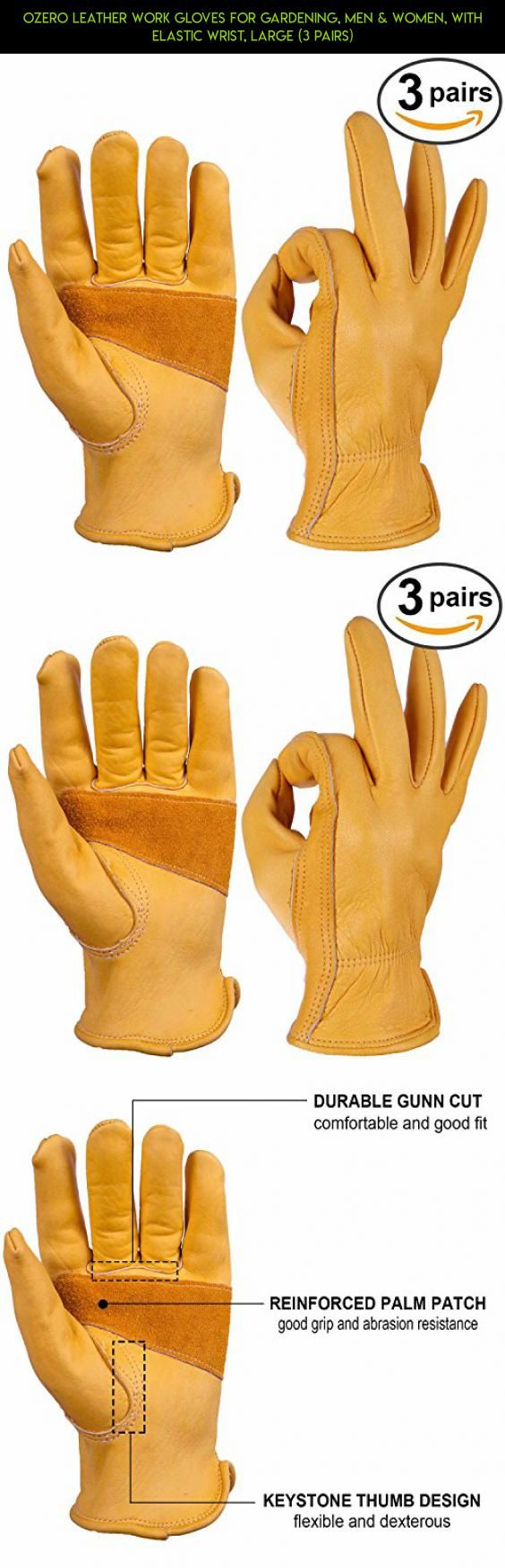 Reinforced Leather Work Gloves - Ozero leather work gloves for gardening men women with elastic wrist large