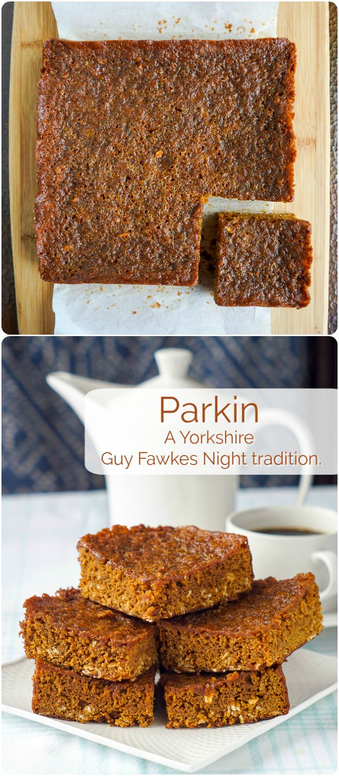 Parkin is a traditional sticky oat spice cake from northern England that's enjoyed on November 5, Guy Fawkes Night, i.e. Bonfire Night!