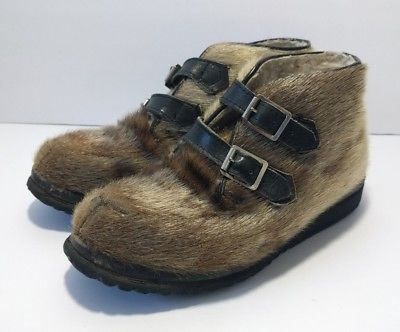 Vintage Blondo Mukluk Boots Womens 6 Fur Eskimo Native American Buckle Up