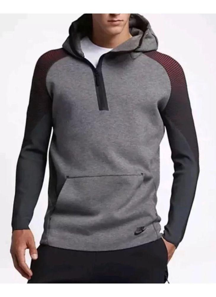 New nike tech fleece half zip hoodie grey sweatshirt