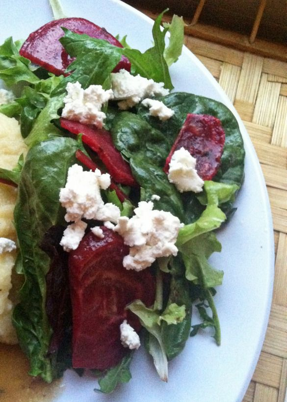 Rosemary Orange Roasted Chiogga Beets with mixed greens, goat cheese ...