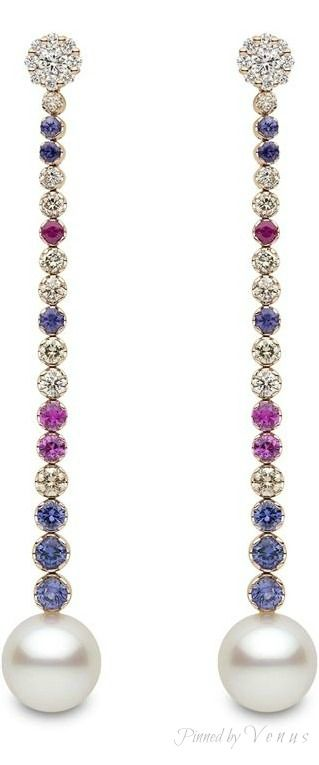Yoko London ♥✤ South Sea pearls with diamonds and multi-coloured sapphires in 18KT rose gold.