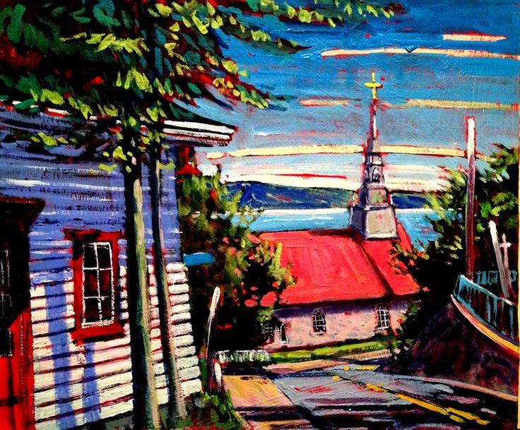 Acrylic Plein Air painting St Jean Quebec. andrewhamiltonfineart.com