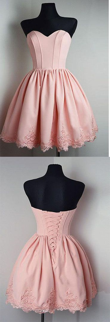 Strapless Sweetheart Short Pink Homecoming Dress, A-Line Open