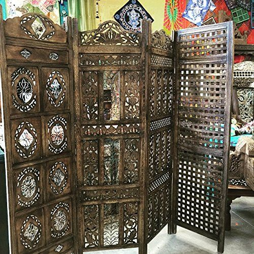 Antique Room Divider Screen Panel Floral Hand Carved Four Panel Solid Wood Indian Furniture Mogul Interior