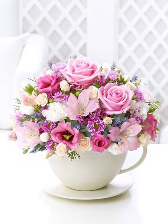 Gorgeous pink flowers in a giant teacup