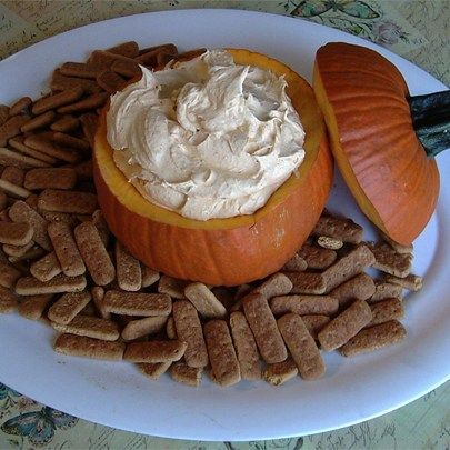 """Pumpkin Fluff Dip I """"This recipe is simple, delicious and unique. Looked nice with a dusting of fresh, ground nutmeg and a scattering of ginger-snaps & vanilla wafers as dippers."""""""