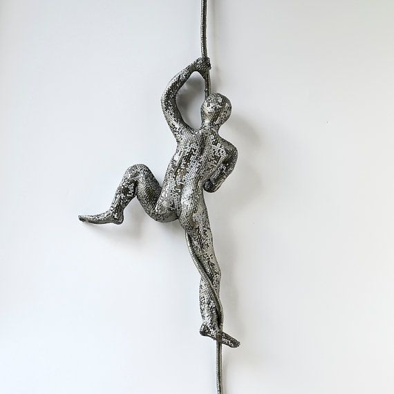 Contemporary metal wall art - Climbing man sculpture on rope - wire mesh sculpture - wall hanging