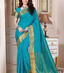 Buy Blue plain art silk saree with blouse banarasi-silk-saree online
