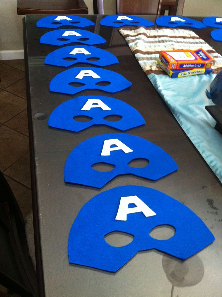Captian America masks using felt. For super hero party.