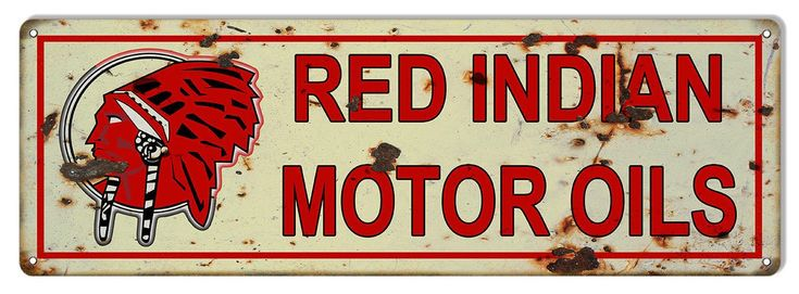 Red Indian Motor Oil Sign, 8 x 24 inch Vinatage Aged Style 040 Gauge Metal, USA Made Vintage Style Retro Garage Art RG6503L by HomeDecorGarageArt on Etsy