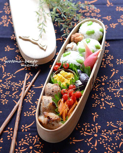 7/25 鶏のオーブン焼きと枝豆おにぎり弁当