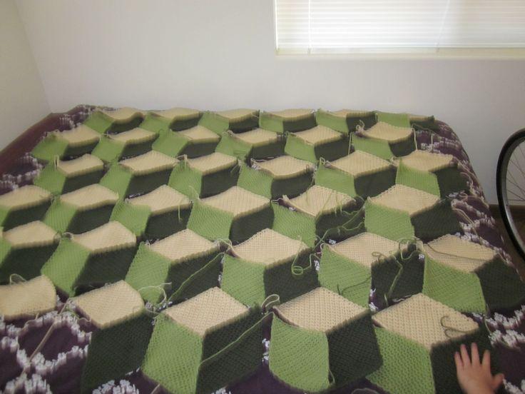 "Tanners ""cubes"" blanket in progress"