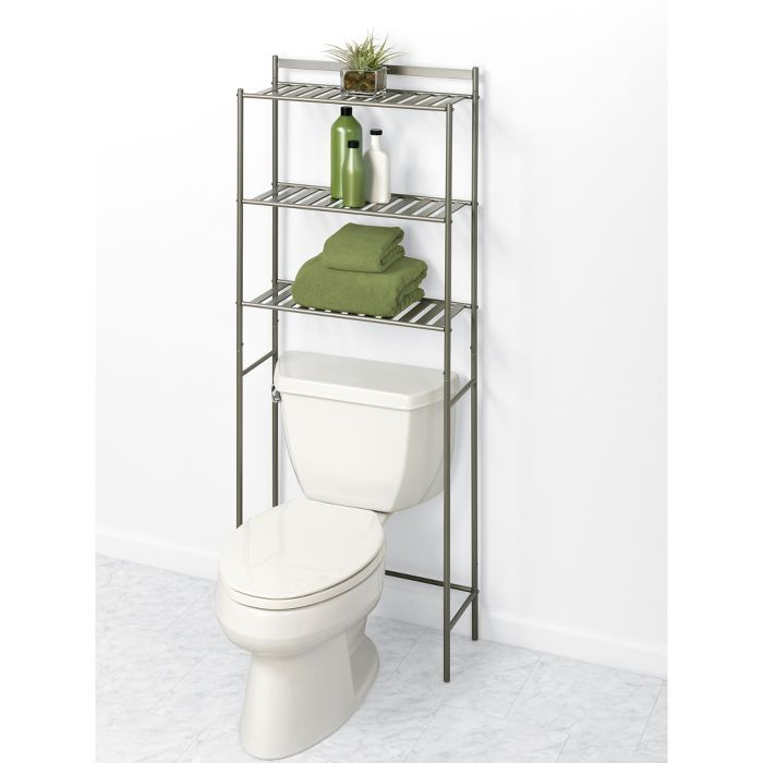 Slat Style Over The Toilet Etagere Brushed Nickel Zenna Home Storage Slatted Shelves Storing Towels