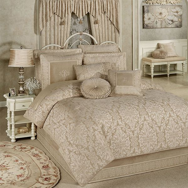 Grandview Champagne Damask Comforter Bedding In 2020 Comforters