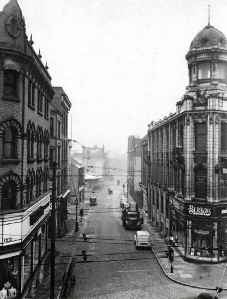 Carrington Street (now Lister Gate) - Broad Marsh Burton's and Broad Marsh, Nottingham, c 1950s Demolished when Broadmarsh Shopping Centre was built in 1973; view is looking down Broad Marsh, Carrington Street to left.