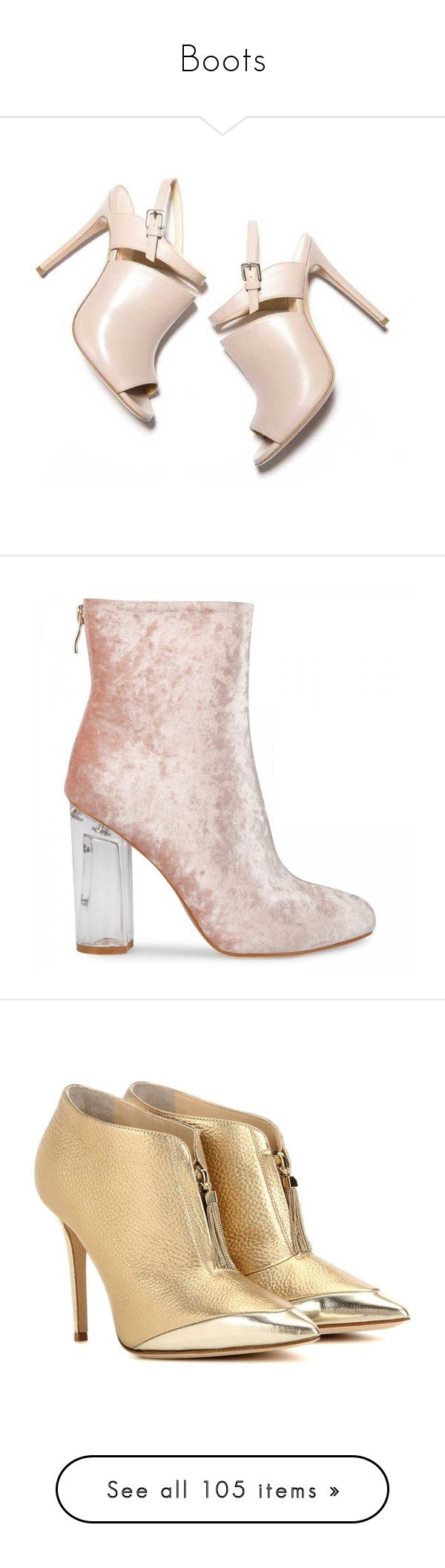 """Boots"" by francescar ❤ liked on Polyvore featuring shoes, handcrafted shoes, boots, ankle booties, heels, booties, heeled ankle boots, pink velvet boots, ankle boots and pink ankle boots"