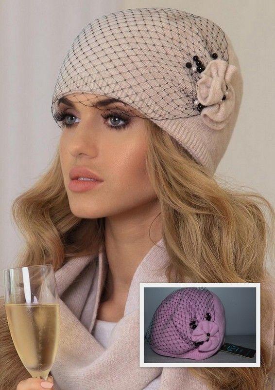 Bonnet Chapeau chaud chic Femme laine voilette Bianka Kaméa