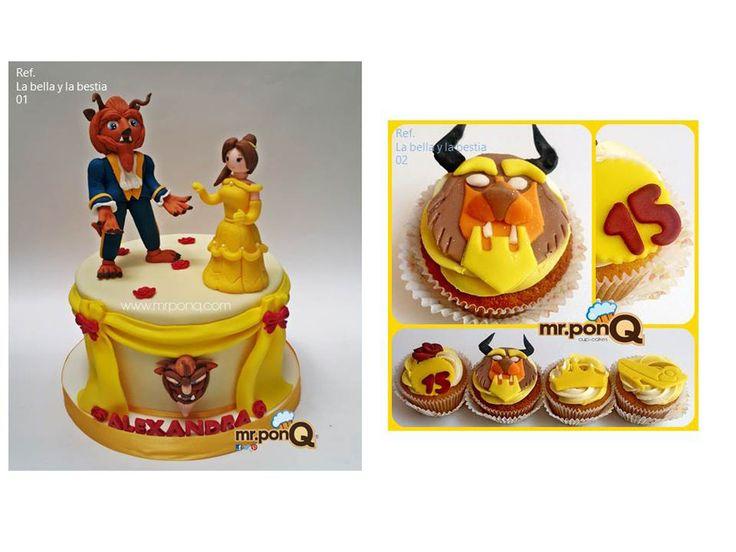 Tortas y cupackes la Bella y la bestia