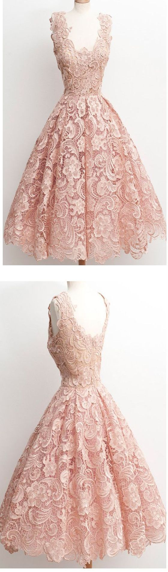 Dark Pink Lace Floral prints Vintage tea length elegant casual homecoming prom d…