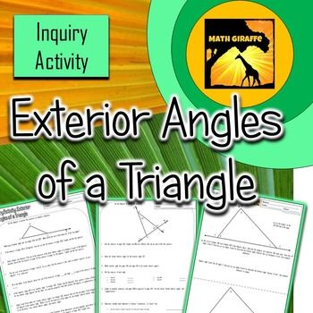 This activity guides students to develop rules for the properties of exterior angles of a triangle.  Through inquiry-based learning, students are able to discover the theorem on their own and therefore understand the concept better and can remember why it works.