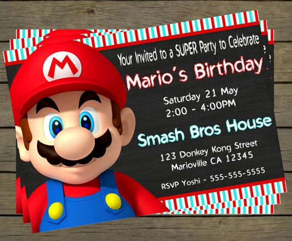 Super Mario Birthday Party Invitation Digital by PYOpartyinvites