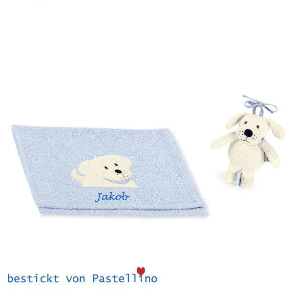 Baby Geschenkset Hund zur Geburt mit Namen  von Pastellino Schönes zum Liebhaben auf DaWanda.com