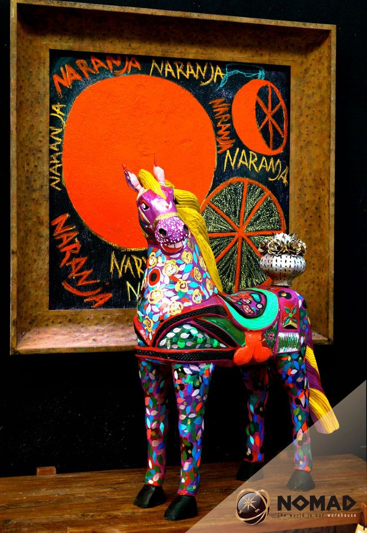 #Caballos #Display #Horses #Art #marcos de metal This is one of #Muebles NOMAD shop displays The horse was hand painted by artists Toller Cranston . Lots of colour in our funky art section at  #Muebles NOMAD  Chapala Jalisco Mexico 01 376 76 56602