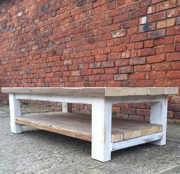 Two Tiered Reclaimed Wood Shabby Chic Distressed Coffee Table