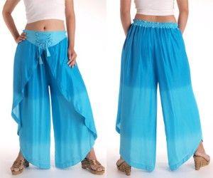 Hippie Harem Genie Belly Dance Rayon Wrap Pants -...