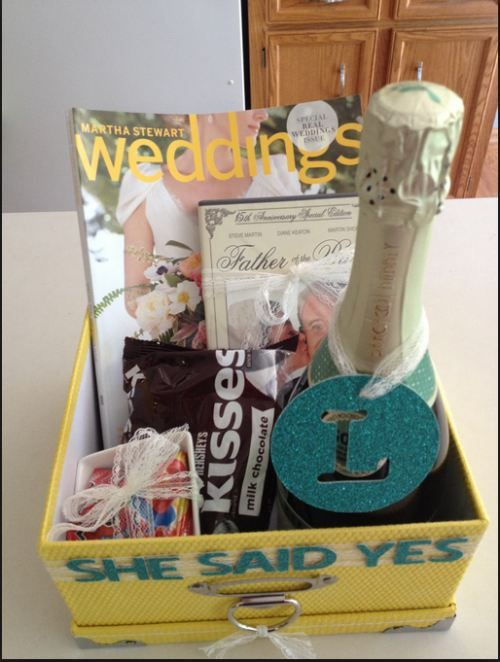 Happy Engagement Gift Basket and 20 other gift ideas.  Box of sunshine, food lovers, and cuddle baskets are other good ideas.