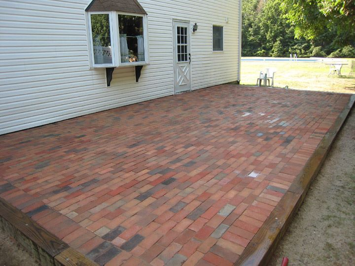 daily diy refresh an old concrete patio by covering it in brick or pavers - Ideas For Covering Concrete Patio