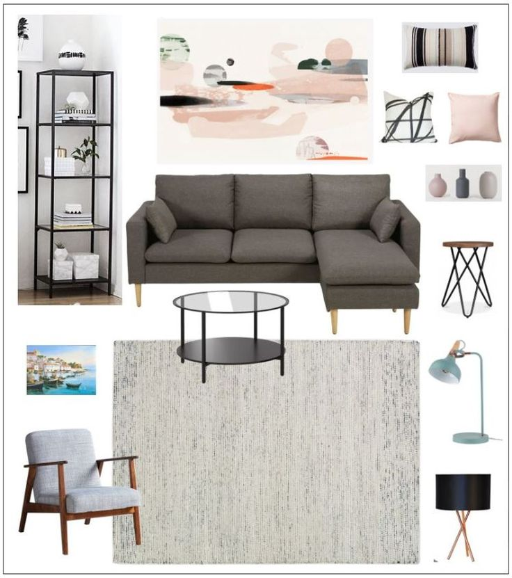 Minimalist Living Room Mood Board, Interior Design Using Ikea Furniture
