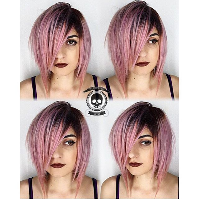 Warm pink hair color with shadow root by Rickey Zito. pink hair color hair painting layered bob grunge hair hotonbeauty.com
