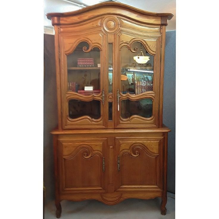 French Buffet Deux Corps from Normandy France. In Pine with lovely fielded panels to the base and glass panelled doors to the top.