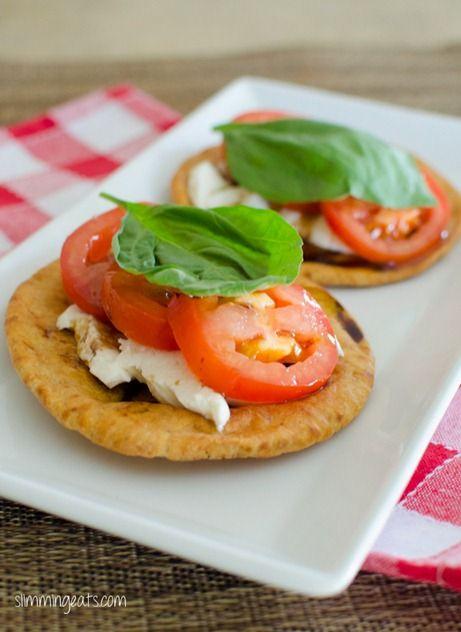 Mozzarella, Tomato and Basil on Pitta Bread | Slimming Eats - Slimming World Recipes