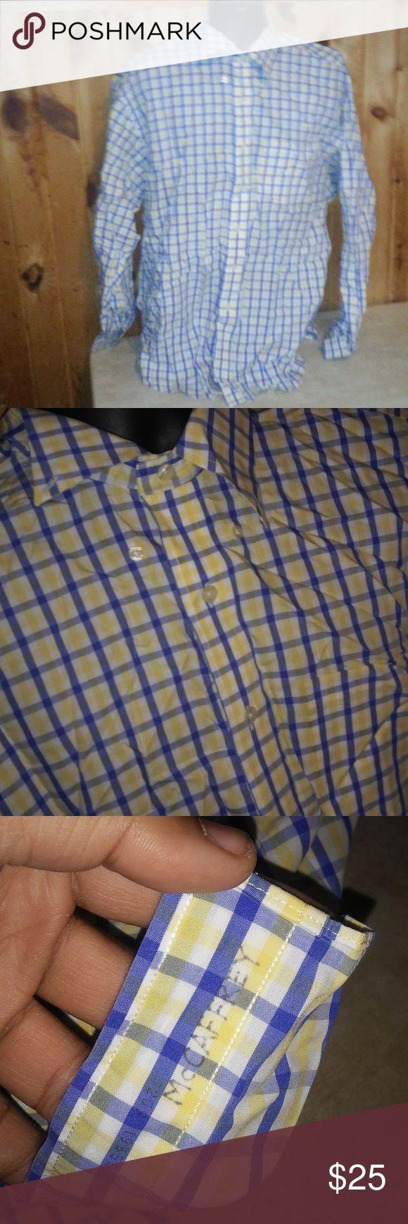 brooks brothers men XL yellow non iron shirt T1 men size XL 100% cotton non iron yellow blue checks prev owners name on shirt Brooks Brothers Shirts Dress Shirts