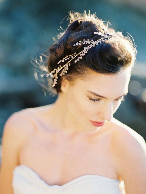 Bridal Halo Light Amethyst Crystal Crown Hair Vine Bridal