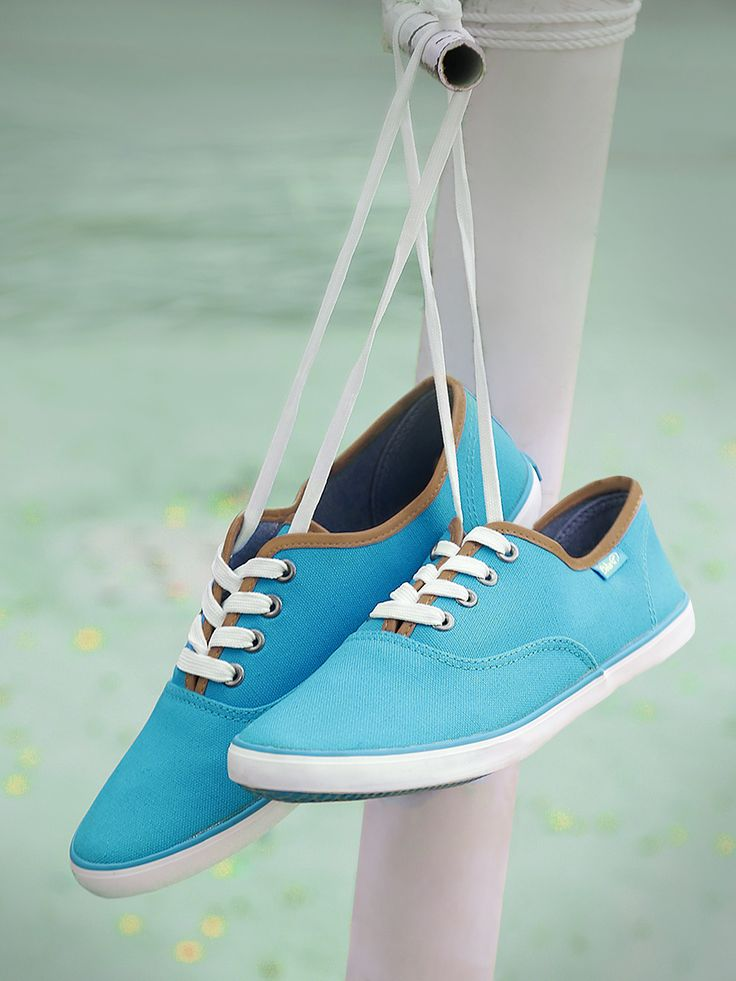 Boltio Sky Blue Canvas Solid Casual Shoes #Blue#Laceup#Synthetic