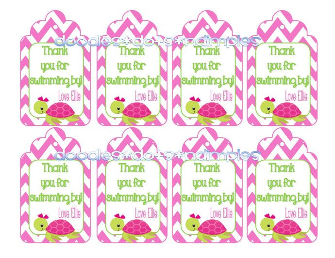Personalized  Digital Sea TurtleTreat Bag Tags by DoodlesDotsnDimples, $3.50 USD
