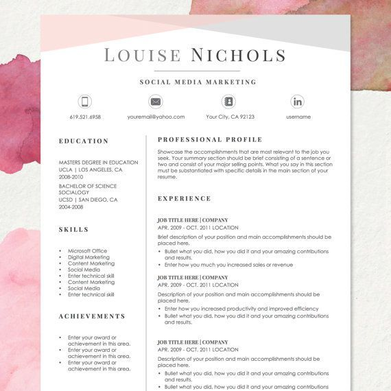 "★ INSTANT DOWNLOAD #RESUME #TEMPLATE - WORD FORMAT ★ The ""LOUISE"" #resume template has a clean and modern feel and perfect for jobs in design,…"