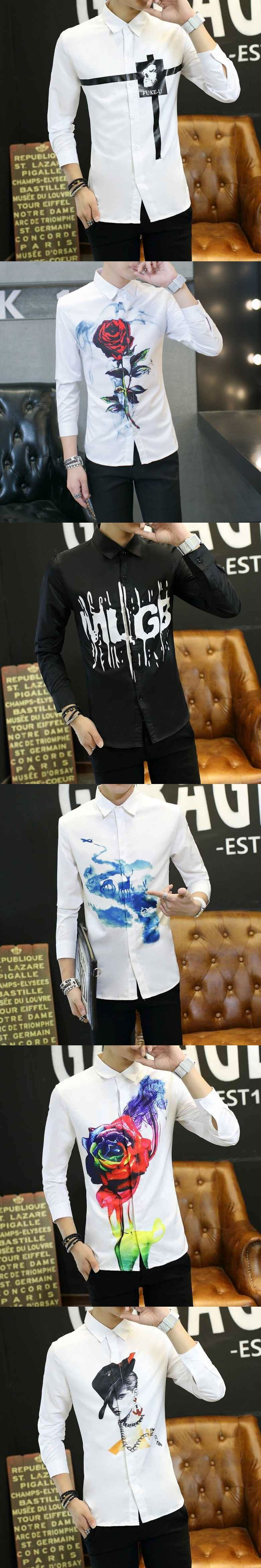 #2341 Spring 3D print Men shirt long sleeve Camisa social Preppy Style Lightweight Mens dress shirts Camisa social masculina