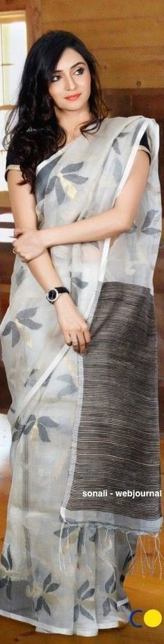 Handwoven Muslin saree - coloroso.in