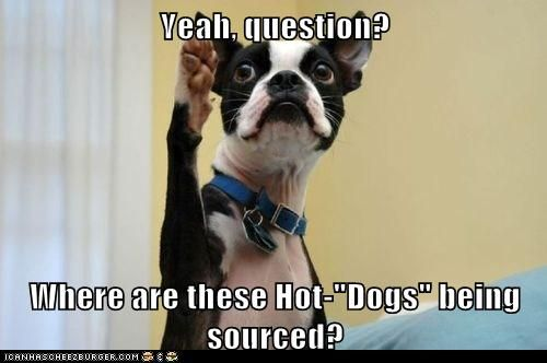 """Yeah, question?  Where are these Hot-""""Dogs"""" being sourced?"""